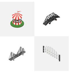 Isometric city set of carousel barricade bridge vector