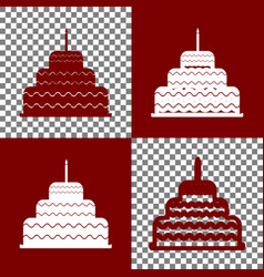 Cake with candle sign  bordo and white vector