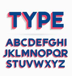 3d typeface font and alphabet design vector