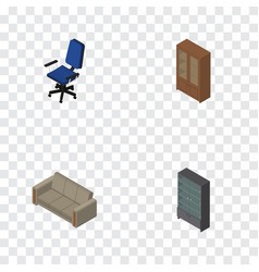 Isometric furniture set of office cabinet couch vector