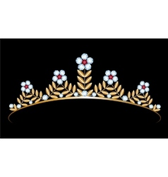 Gold tiara with diamonds vector