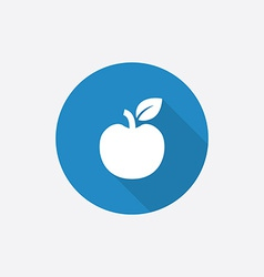Apple flat blue simple icon with long shadow vector