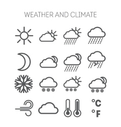 Set of simple weather and climate icons vector