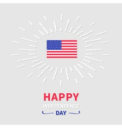 Shining american flag independence day vector