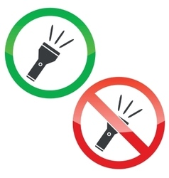 Flashlight permission signs set vector