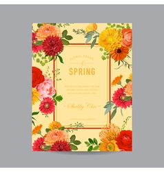 Vintage floral colorful frame - for invitation vector