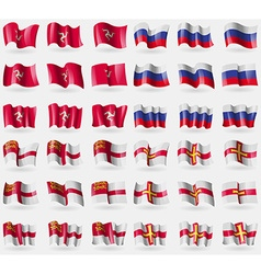 Isle of man russia sark guernsey set of 36 flags vector