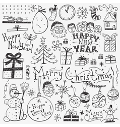 Winter holidays doodles vector
