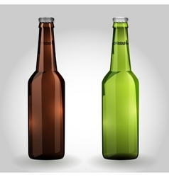 Two green and brown glass beer bottle vector