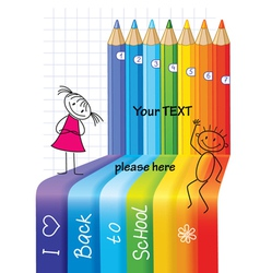 Back to school concept background with children vector