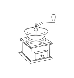 Manual coffee grinder mill vector image