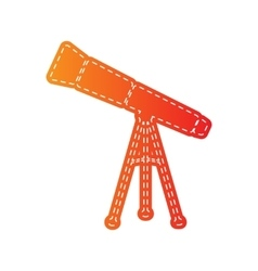 Telescope simple sign orange applique isolated vector