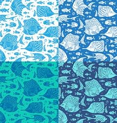 Set of seamless ocean patterns vector