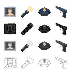 a criminal in prison a flashlight a police cap vector image vector image