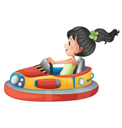 A girl driving the bumpercar vector