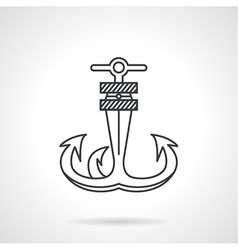 Anchor black line icon vector image