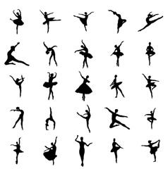 Ballerina silhouettes set vector