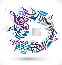 Blue and violet music background with clef and vector image