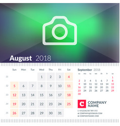 Calendar for august 2018 week starts on sunday 2 vector