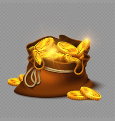 cartoon big old bag with gold coins isolated on vector image vector image