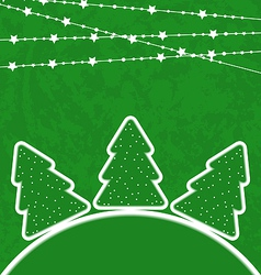 Christmas set trees with garland vector image