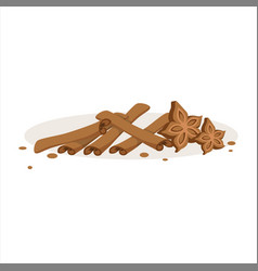 Cinnamon sticks and stars of anise baking vector
