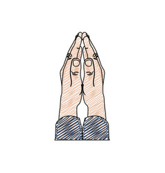 color pencil drawing of hands in position of pray vector image