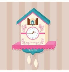 cuckoo clock bird on wall flat cute vector image