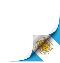 Curled up paper corner on argentianian flag vector