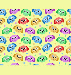 cute puppy seamless pattern dog repetitive vector image vector image