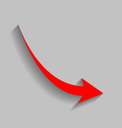 Declining arrow sign red icon with soft vector