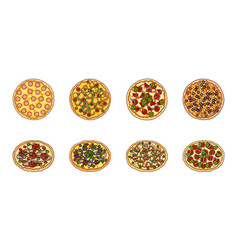 Different pizza icons in set collection for design vector