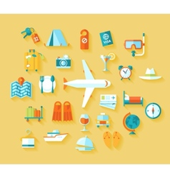 Flat design style modern icons set of traveling on vector image