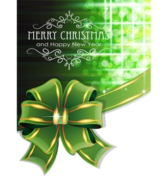Green christmas background with bow vector