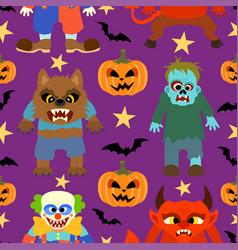 halloween background seamless cartoon vector image