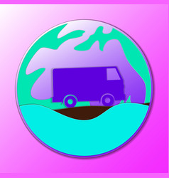 hippie vintage car a mini van ornamental icon vector image