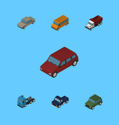 Isometric automobile set of autobus truck vector