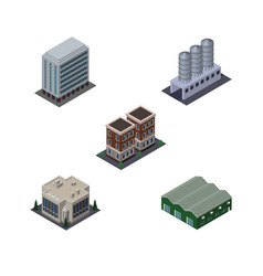 Isometric construction set of company warehouse vector