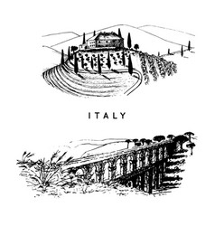italian landscapes set with roman aqueduct and vector image vector image