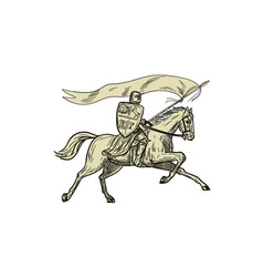 Knight riding horse shield lance flag drawing vector