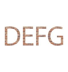 letters defg in bricks vector image vector image