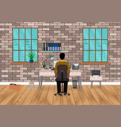 modern workspace design in hipster style with man vector image