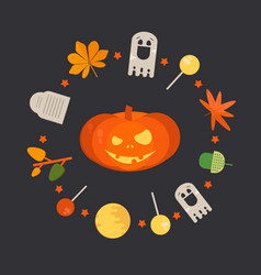 orange smiling pumpkin vector image