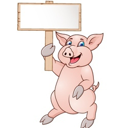 pig with blank signboard vector image vector image