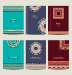 Set of geometric abstract colorful brochure vector image