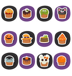 set of halloween cupcakes set of halloween vector image vector image