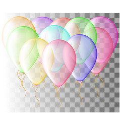 Set of pink balloon isolated in the air frosted vector