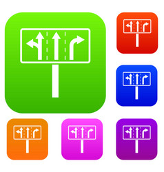 traffic lanes at crossroads junction set vector image vector image