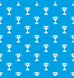 winner cup pattern seamless blue vector image