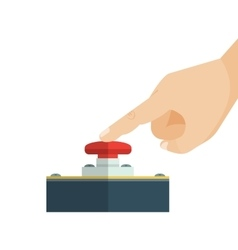 The finger is touching red alert button vector